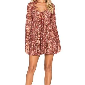 Charlie Mini Dress in Red and Nude